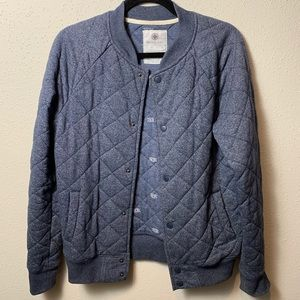 ON THE BYAS Men's Small Blue Quilted Bomber Jacket